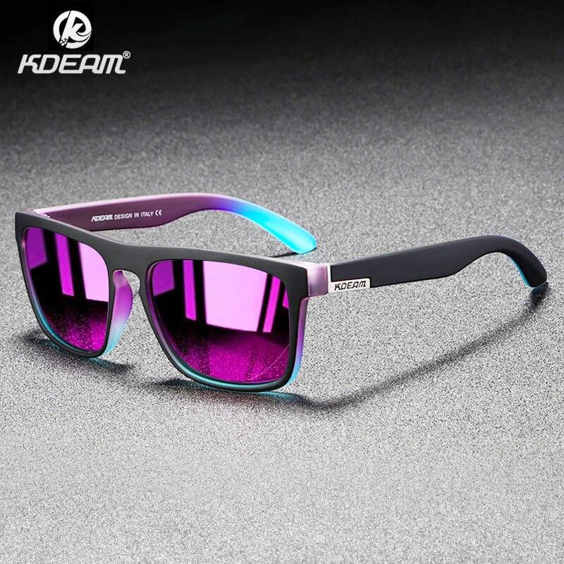 Мужские зеркальные поляризационные очки KDEAM, ультралегкие Квадратные Солнцезащитные очки в оправе, спортивные УФ-очки для путешествия, CE X8, ...