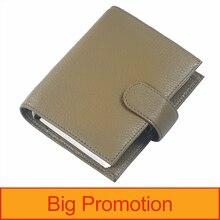 Neuheiten Echtes Leder Ringe Notebook A7 Größe Silber Binder Mini Agenda Organizer Rindsleder Tagebuch Journal Planer Große Tasche