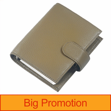 Novas chegadas anéis de couro genuíno notebook a7 tamanho prata binder mini agenda organizador diário do bolso grande planejador