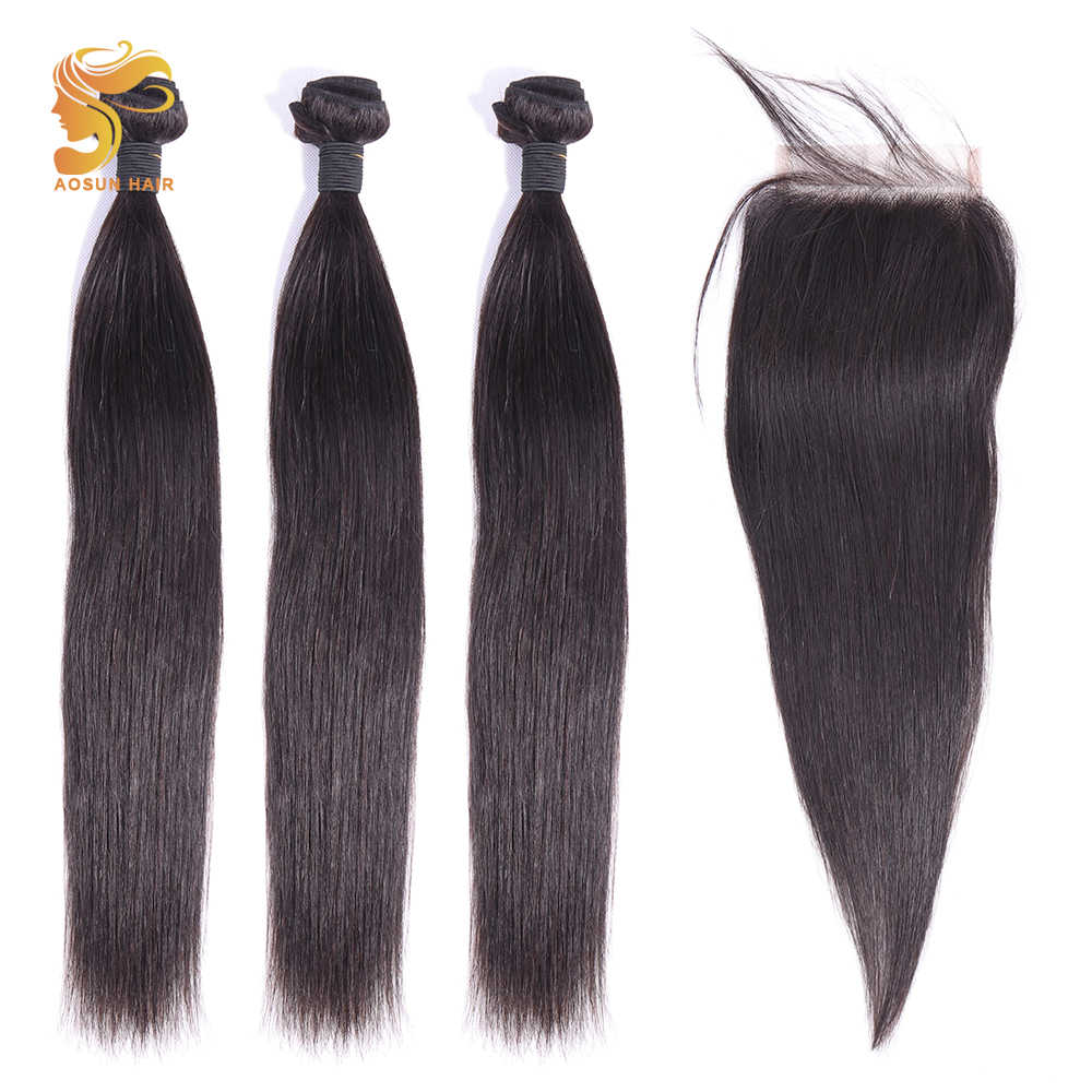 AOSUN HAIR Brazilian Human Hair Bundles With Closure 100% Remy Straight Hair Weave 3 Bundles With 4x4 Lace Closure Middle Part