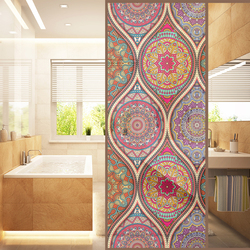 Floral Static Cling Stained Window Film Privacy Frosted Glass Large Window Decals Window Film Sun Blocking Door Sticker