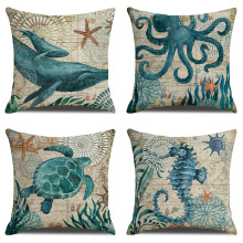Home Classic Marine Vintage Bio Printed Pillow Linen Cushion Waist Pillowcase Funda de almohada наволочка kussensloop