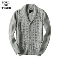SOUL OF TIGER 2019 Korean Fashion Men Vintage Kintted Cardigans Male Oversized Casual Sweaters Winter Thick Warm Clothes XXXXXXL