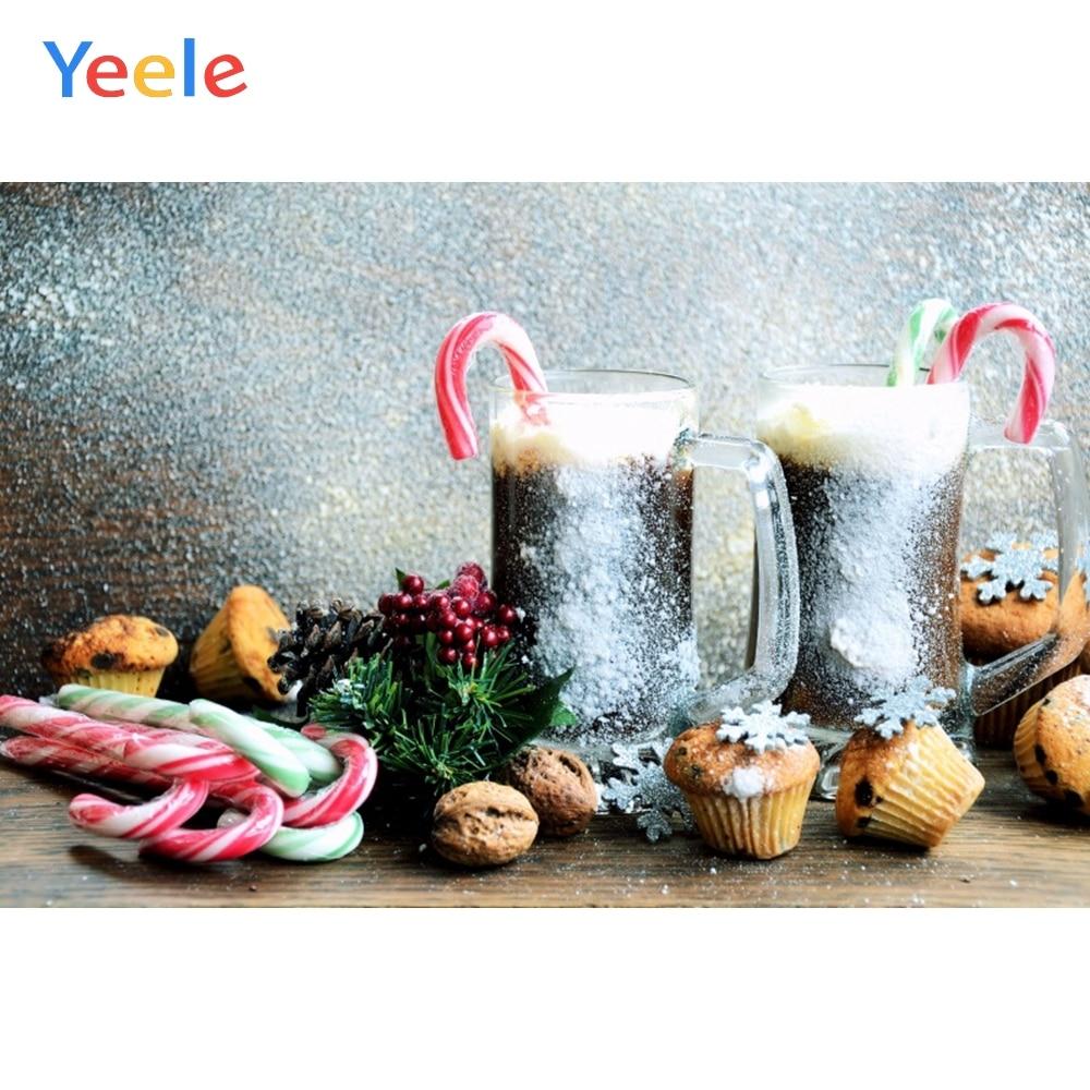 Yeele Christmas Photocall Snow Wine Candy Cake Decor Photography Backdrop Personalized Photographic Backgrounds For Photo Studio