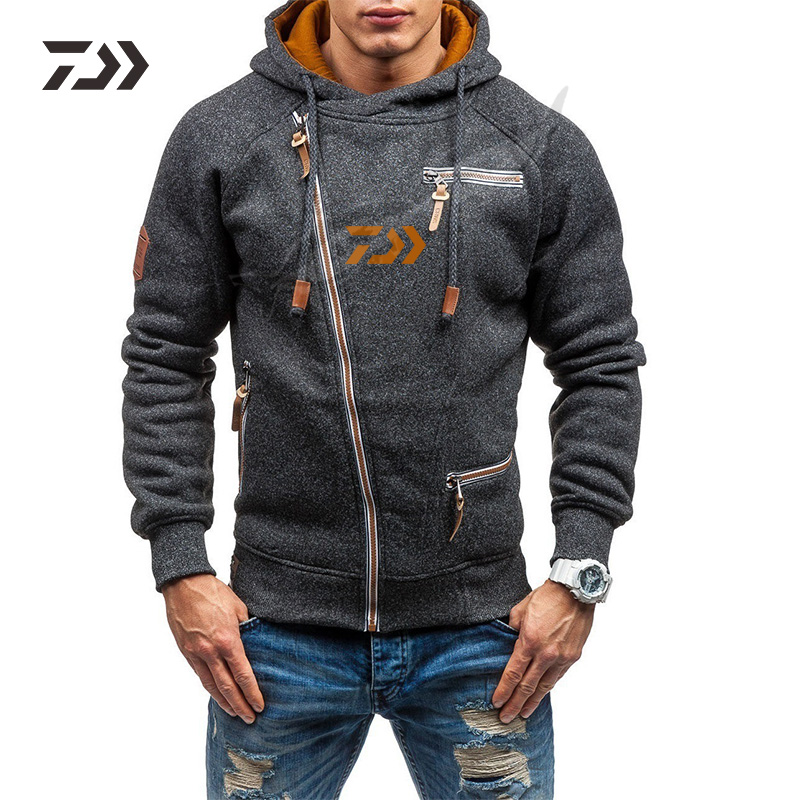 Daiwa Fishing Jacke Men's Winter Hoodie Warm Hooded Sweatshirt Coat Jacket Outwear Sweater Tops Men Sport Fishing Clothes