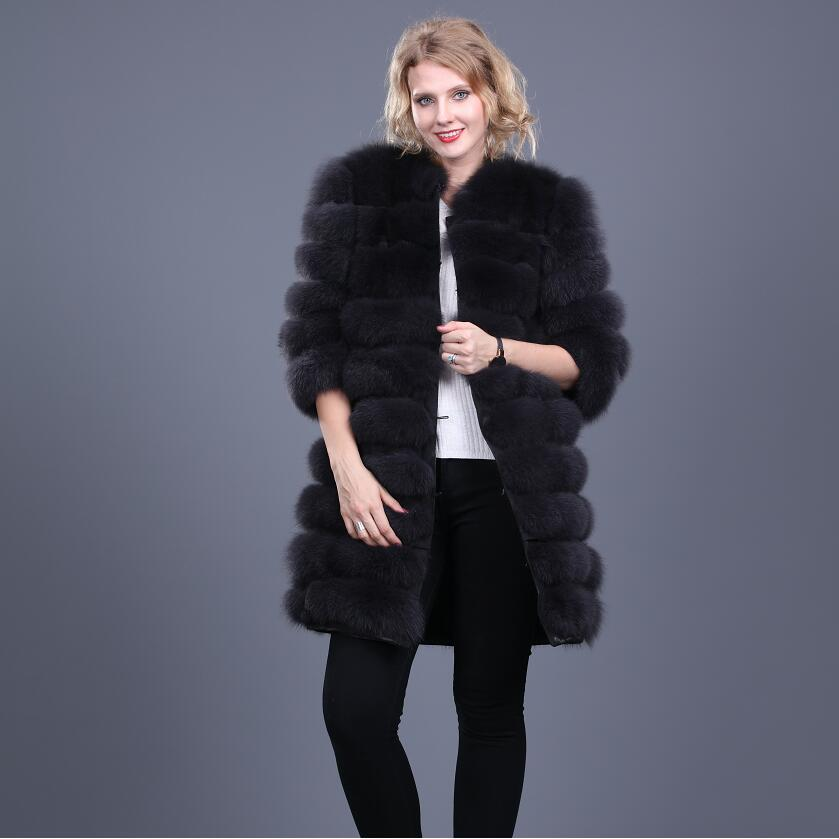 Real Fox Fur Coat Jacket Detachable Sleeve Bottom Transforme Long Warm High Fashion Women Natural Fur Thick Street Style