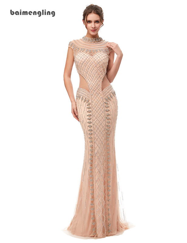 champagne evening dress, formal sexy beaded dress