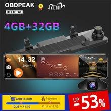 Obdpeak 1080P 4G + 32G Android 8.1 12 Inch Auto Dvr Camera Achteruitkijkspiegel Adas Wifi Gps auto Video Registrator Dashcam 24H Parking