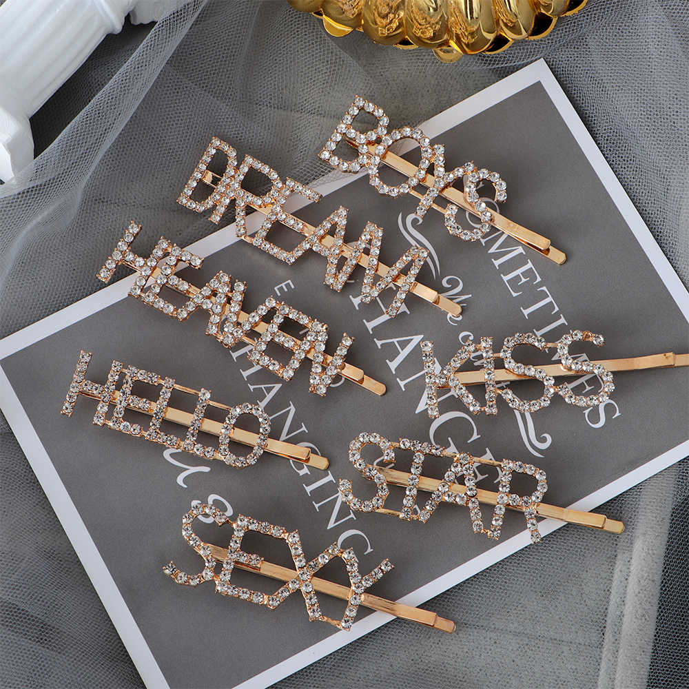 Metal  Gold Elegant Head Wear Letters Hair Pin Barrettes Hair Accessories