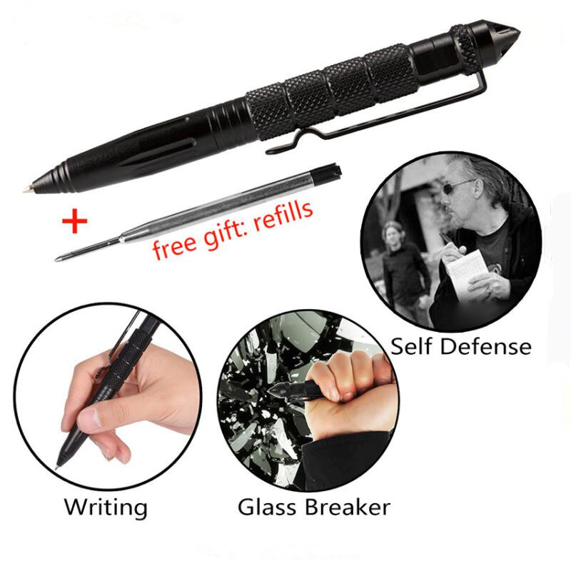 Multipurpose Aluminum Alloy Tactical Pen Emergency Glass Breaker Outdoor Multi Tools Hiking Breaker Self Defense With Writing