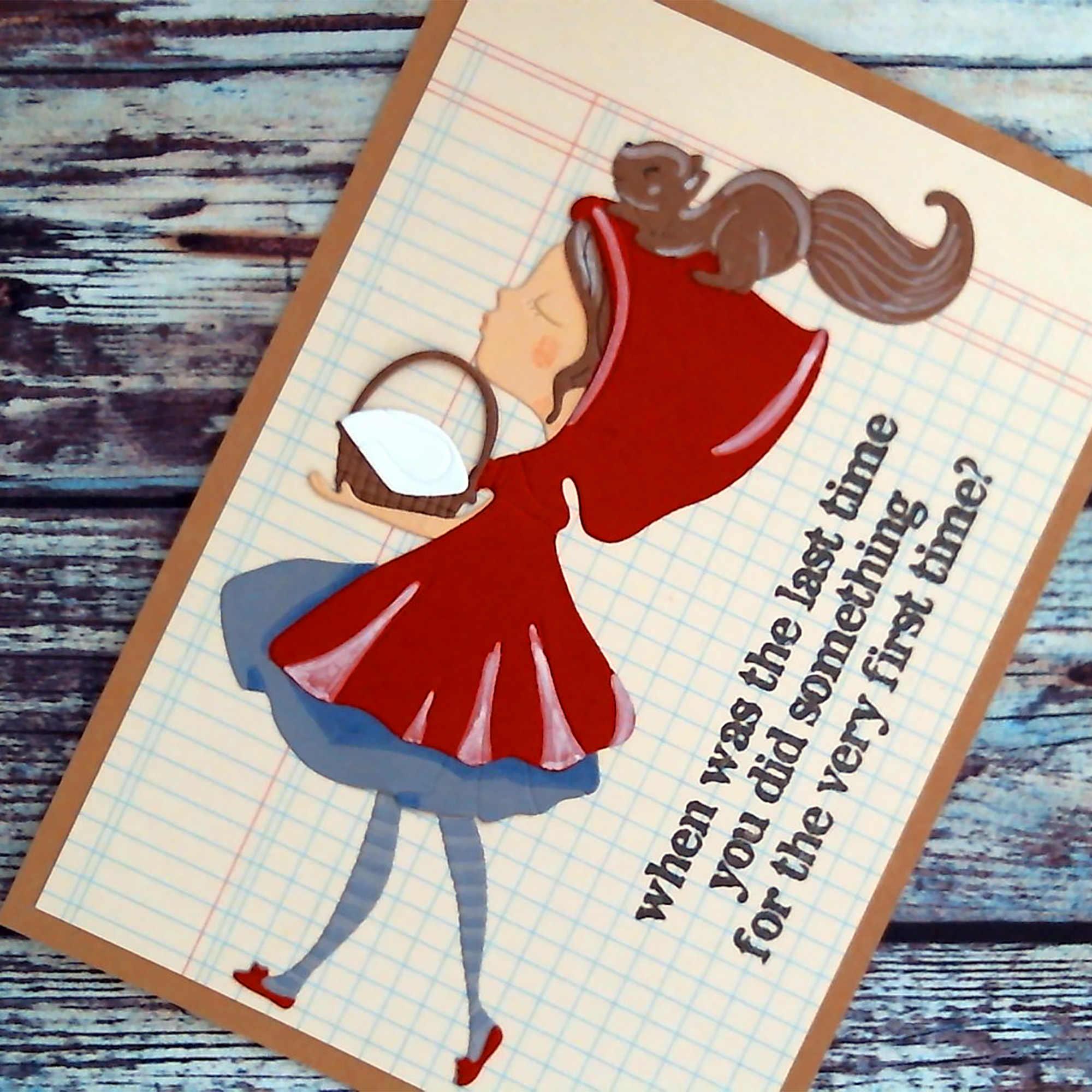 Küçük kırmızı başlıklı kız Metal kesme ölür sincap bebek kabartma şablon DIY Scrapbooking için kart dekorasyon