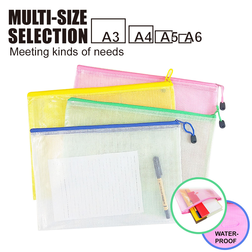 2020 New A3/A4/A5/A6 Grid Transparent Document Bag PVC Zipper Stationery Pouch Filing Products Bag Stationery Office Supplies