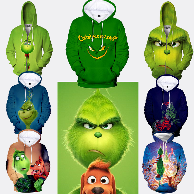 3D Print Movie The Grinch Cosplay Grinch Hoodie Costume Unisex Top Sweatshirt Jacket Coats