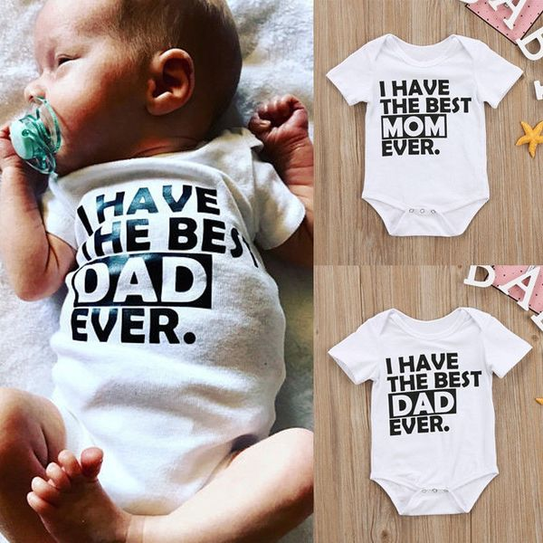 Best Daddy Mommy Newborn Infant Baby Boys Girls Summer Romper Bodysuit Jumpsuit Clothes Outfits Love Mama Papa