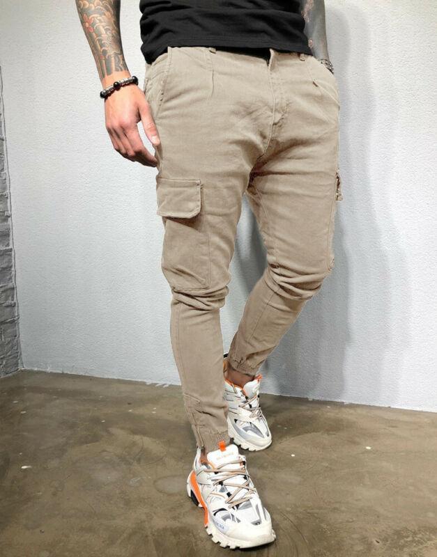Men's Slim Pocket Straight Leg Cargo Pants Trousers Jogging Hip Hop Harem Pants Skinny Male Sweatpants Winter Overalls