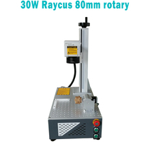 30w Raycus with rotary Fiber laser marking machine for ring and bracelet metal engraving