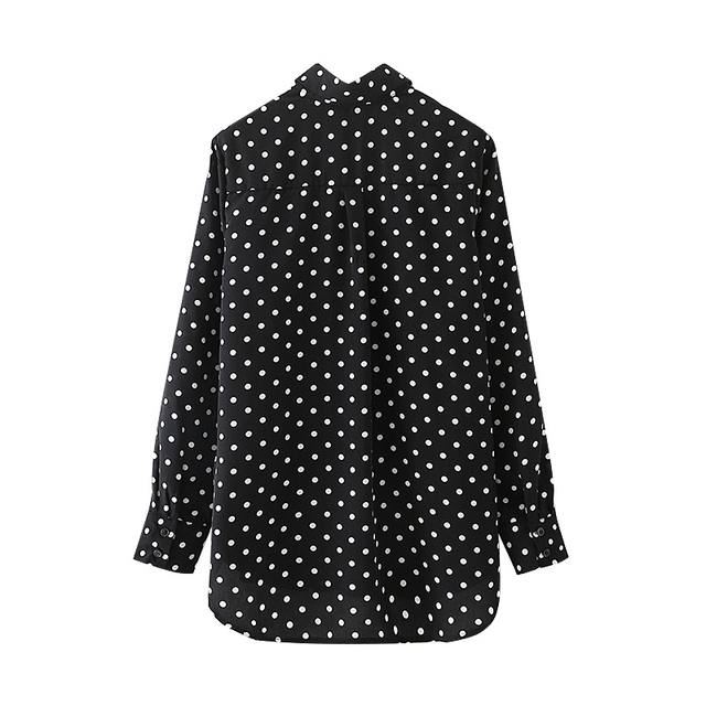 Black Shirt with white polka dot