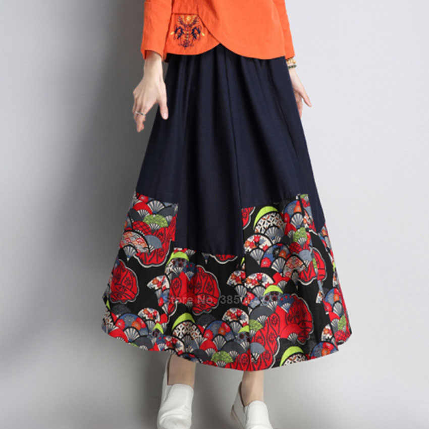 Katun Linen Tradisional Cina Vintage Cheongsam Atasan Bordir Wanita O-Leher Longgar Pakaian Gaya Retro Rok Pakaian