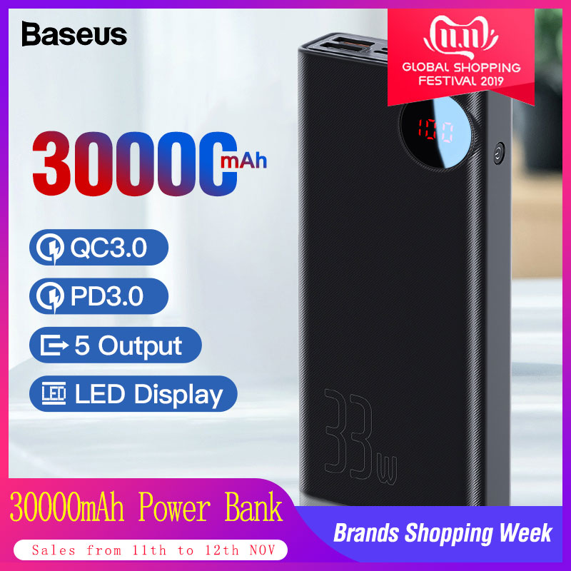 Baseus 30000mAh Power Bank USB Type C PD Fast Quick Charge 3.0 Powerbank For Xiaomi 30000 MAh Portable External Battery Charger
