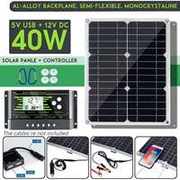 40W 18V Mono Solar Panel Dual 12V/5V DC USB Monocrystaline Flexible Solar Cells For Car RV Boat With 10/20/30A Controller