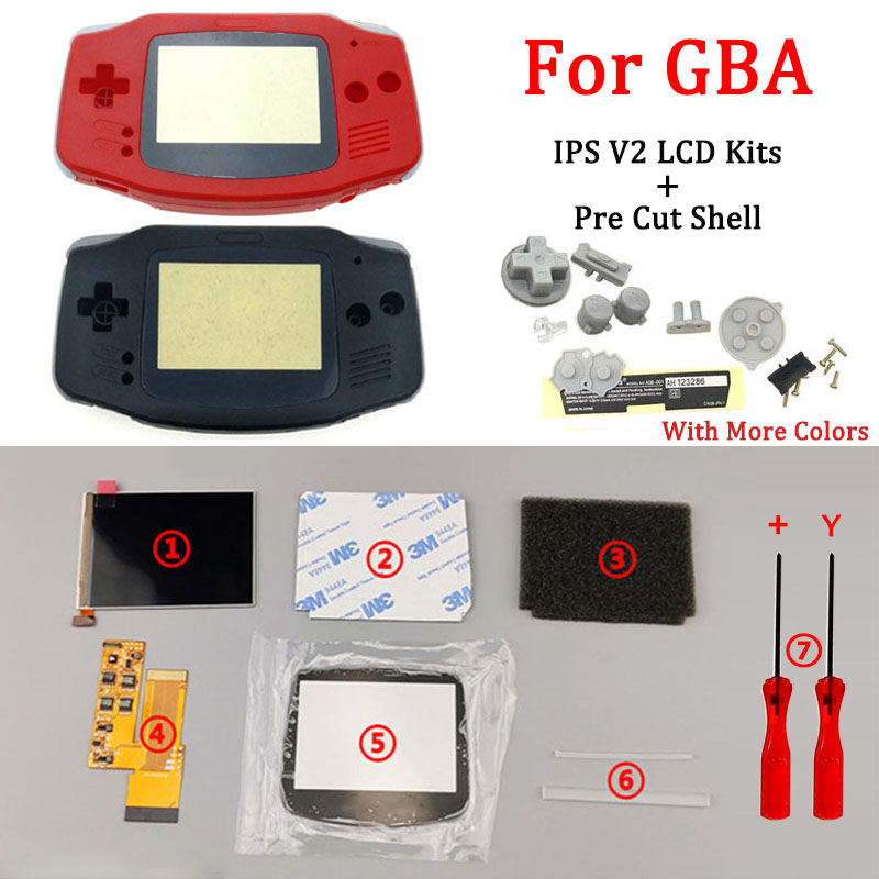 Full Screen IPS V2  LCD Kits With Pre Cut Shell For GBA IPS LCD V2 Backlight For GameBoy Advance With Housing Shell &Button &pad