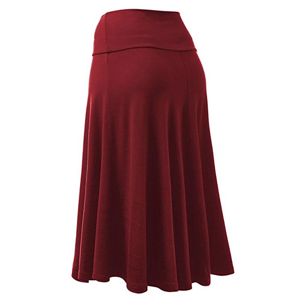 Falda Larga Plus Size Women Skirts Ladies Solid Flare Hem Skirts High Waist Saias Sexy Uniform Pleated Skirt Spodnica @20