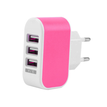 EU Plug LED 3.1A 3-port Triple USB Wall Adapter Charger Home Travel AC Power for Iphone Samsung LG DC Plug in Switching ONLENY image