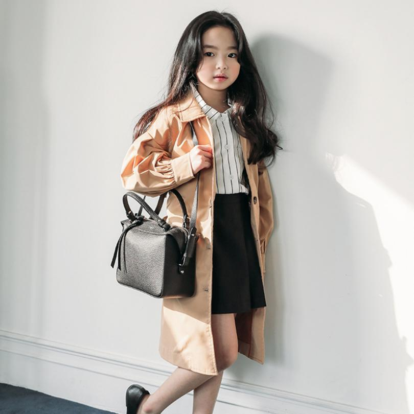 Girls Long   Trench   Coat 2019 Autumn New Teens Windbreaker Jacket Single-breasted Lantern sleeve Outerwear Modis Kids Jacket Y1972