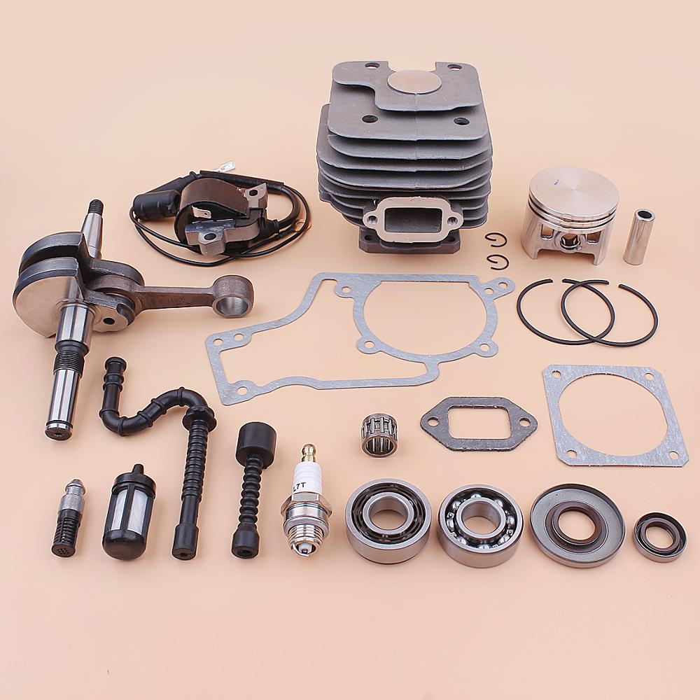 52mm Cylinder Piston Crankshaft Ignition Coil Kit For Stihl MS380 038 MS 380 Crank Bearing Oil Seal Fuel Line Hose Gasket