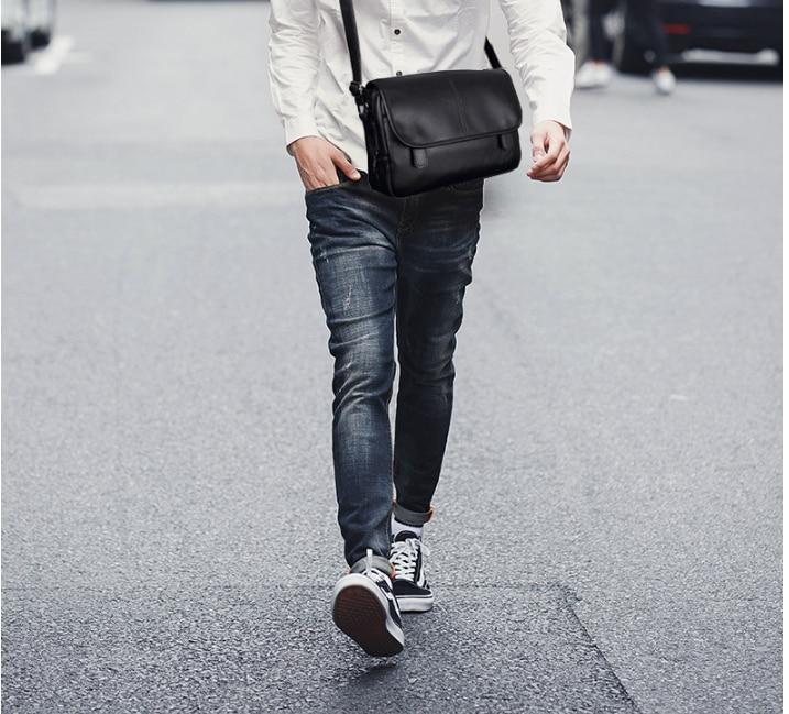 Vintage Fashion Men Leather Briefcase Dapper Shoulder Business Bag Mens Waterproof Commuter Work Bags Bolso Hombre DF345