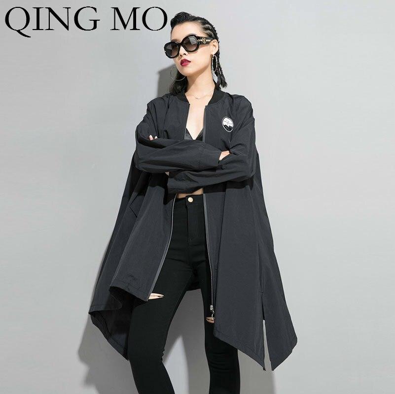 QING MO Women Black Letter Print Irregular Coat Women Long Plus Size   Trench   Coat Personality Thin Coat 2019 Autumn ZQY1394