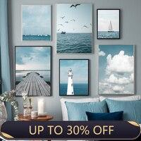 Póster de barco nórdico para decoración del hogar, pintura en lienzo con imagen de pared de salón, vista al mar, Océano, Faro, arte impreso, azul Nórdico