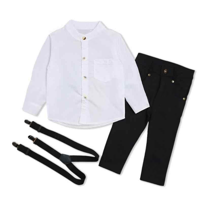 Enfant en bas âge garçon vêtements automne enfants vêtements bébé garçons vêtements Gentleman ensembles à manches longues chemise jarretelle pantalon costumes tenues