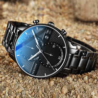 固体鋼ベルト蝶バックル腕時計メンズ高級発光防水カレンダー時間正確なパイロット腕時計ストップウォッチタイミング