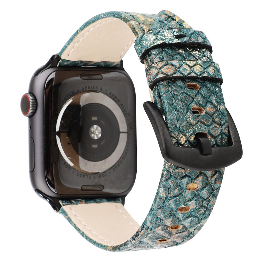 New Colorful Snake Skin Texture Leather Band For Apple Watch Series 2 3 4 5 Strap For Apple iWatch Bracelet 38mm 42mm 40mm 44mm image