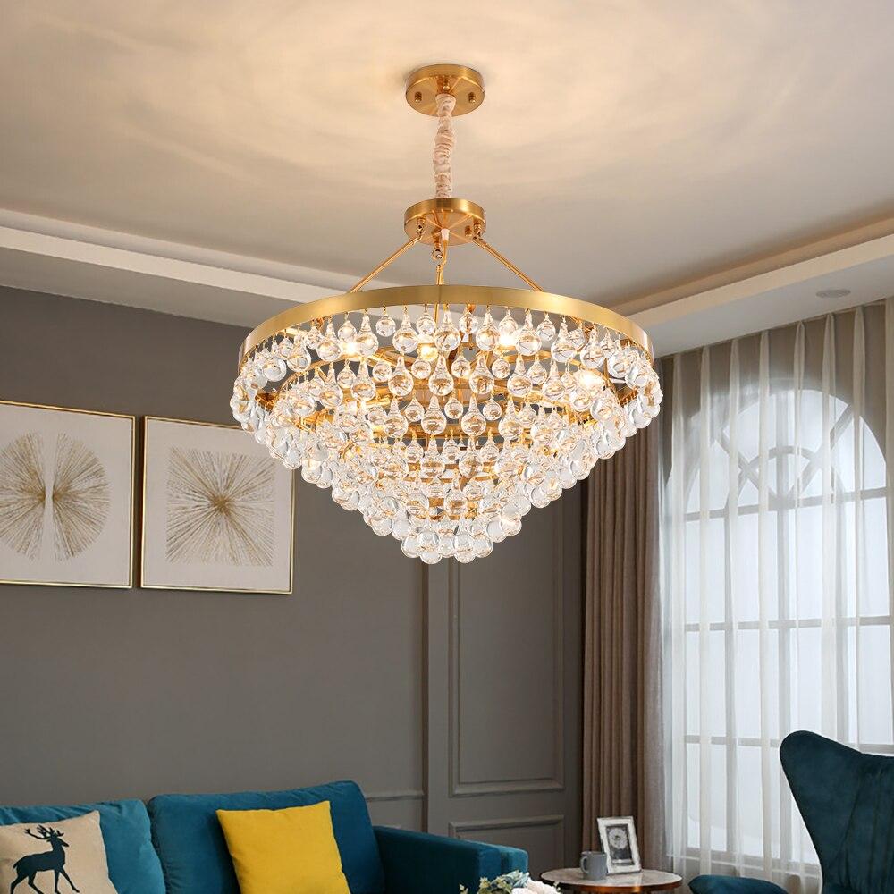 US $359.98 18% OFF|Luxury gold crystal chandelier lighting living room girl  bedroom light fixtures round kitchen hanging lamp on AliExpress