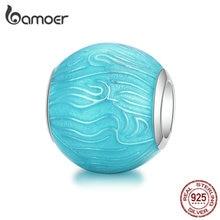 bamoer 925 Sterling Silver Light Blue Enamel Round Ball Bead