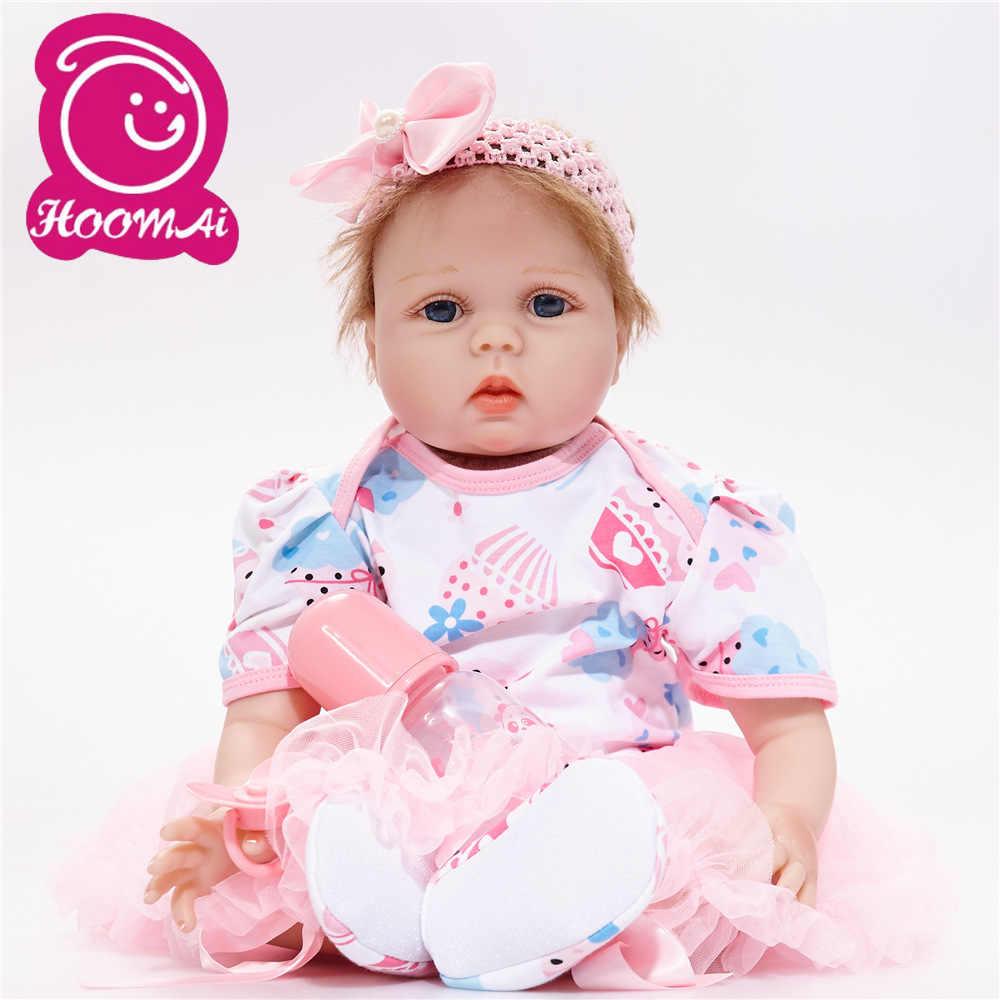 Reborn bebê boneca de silicone meninas presente brinquedos 22 Polegada recém-nascido boneca playmate bebe reborn 55 cm pano corpo boneca rosa princesa