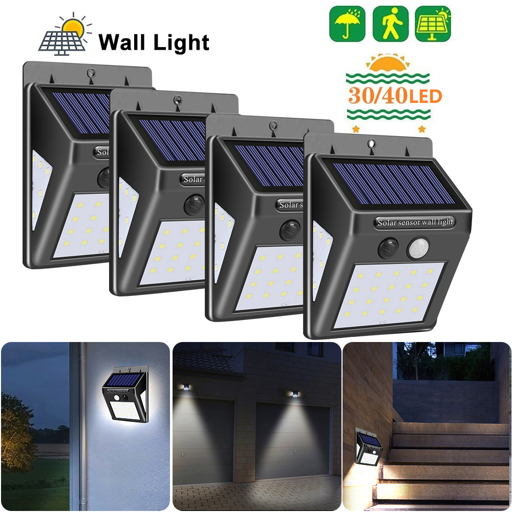 <font><b>30</b></font>/40 <font><b>LED</b></font> <font><b>Solar</b></font> Power Lamp PIR Motion Sensor <font><b>Solar</b></font> Wall Light Waterproof Emergency Energy Saving Garden Security Lamp 1/2/4PCS image