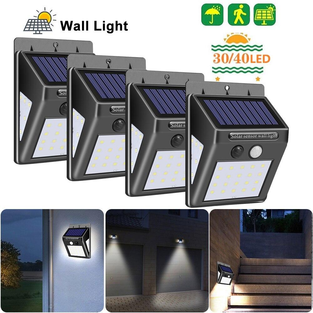 30/40 LED Solar Power Lamp PIR Motion Sensor Solar Wall Light Waterproof Emergency Energy Saving Garden Security Lamp 1/2/4PCS