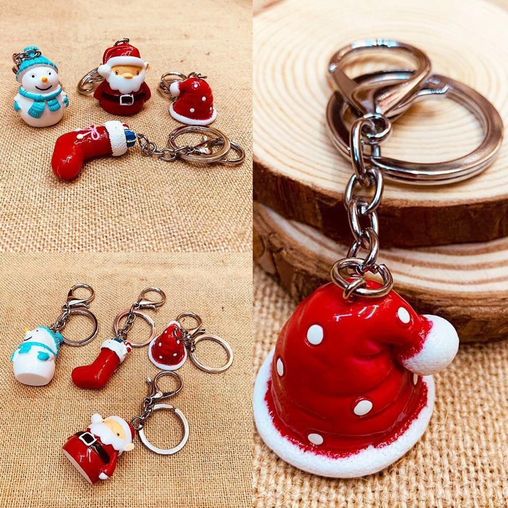 Creative Cute Cartoon Santa Claus  Snowman Bell Key Ring Couple Pendant Chain