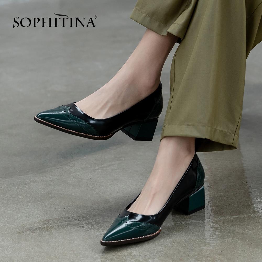 SOPHITINA Elegant Women Pumps Office High Quality Cow Leather Patchwork Design 6.5cm Square Heel Shoes Comfortable Pumps PO486