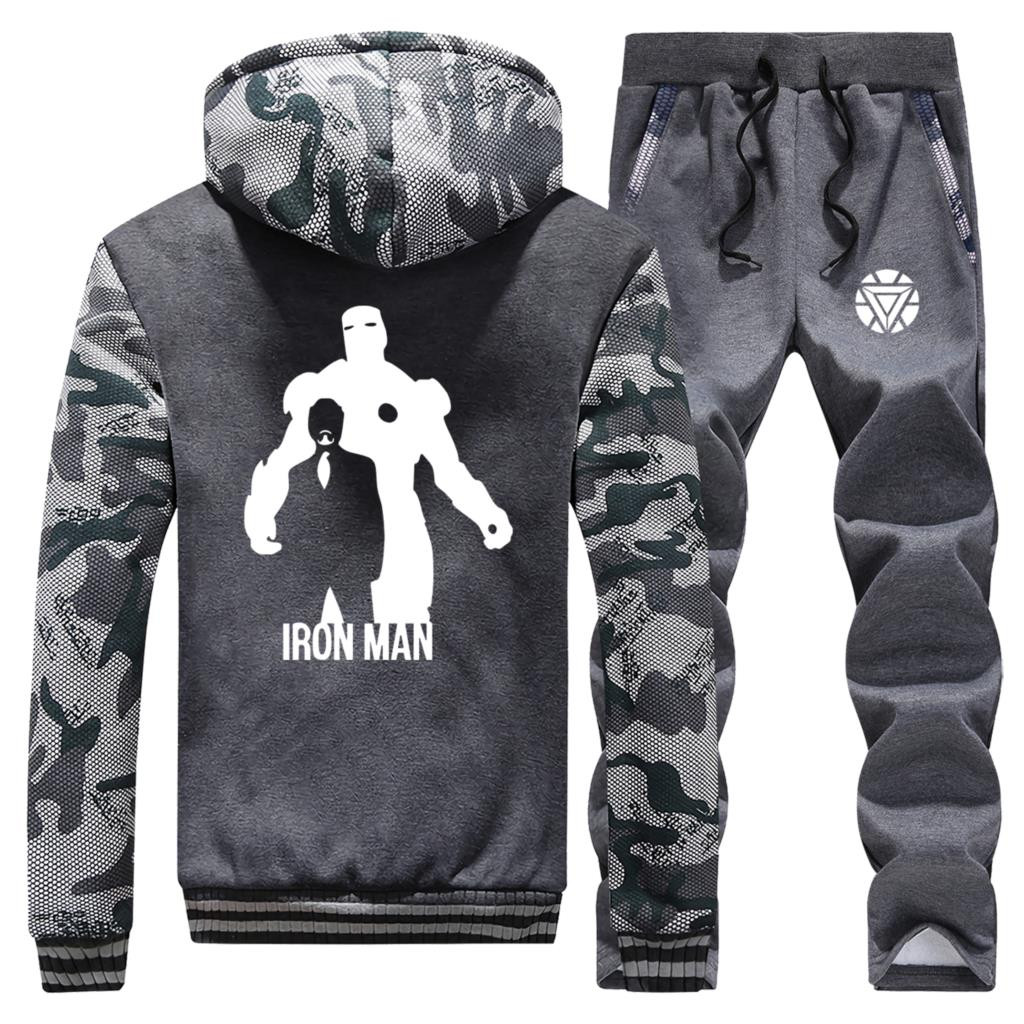 The Avenger Coat Thick Winter New Hip Hop Camouflage Hoodie Iron Man Casual Jacket Sportswear Fleece 2 Pcs Suit Coats+Pants