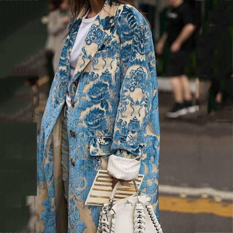 Women Fashion Loose A-Line   Trench   Coat Women Long Coat Outwear Casual Long Sleeve Print Coat