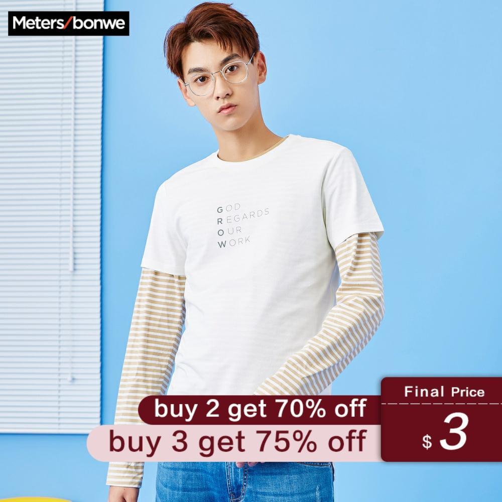 Metersbonwe Men's T-shirt Solid Color Cotton Shirt Summer Casual Letter Print O-Neck Short Sleeve Shirt футболка мужская