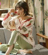 2020New ilkbahar ve sonbahar ev hizmeti kadın pijama uzun kollu pijama pijama pijama kadın uyku üstleri gece elbisesi