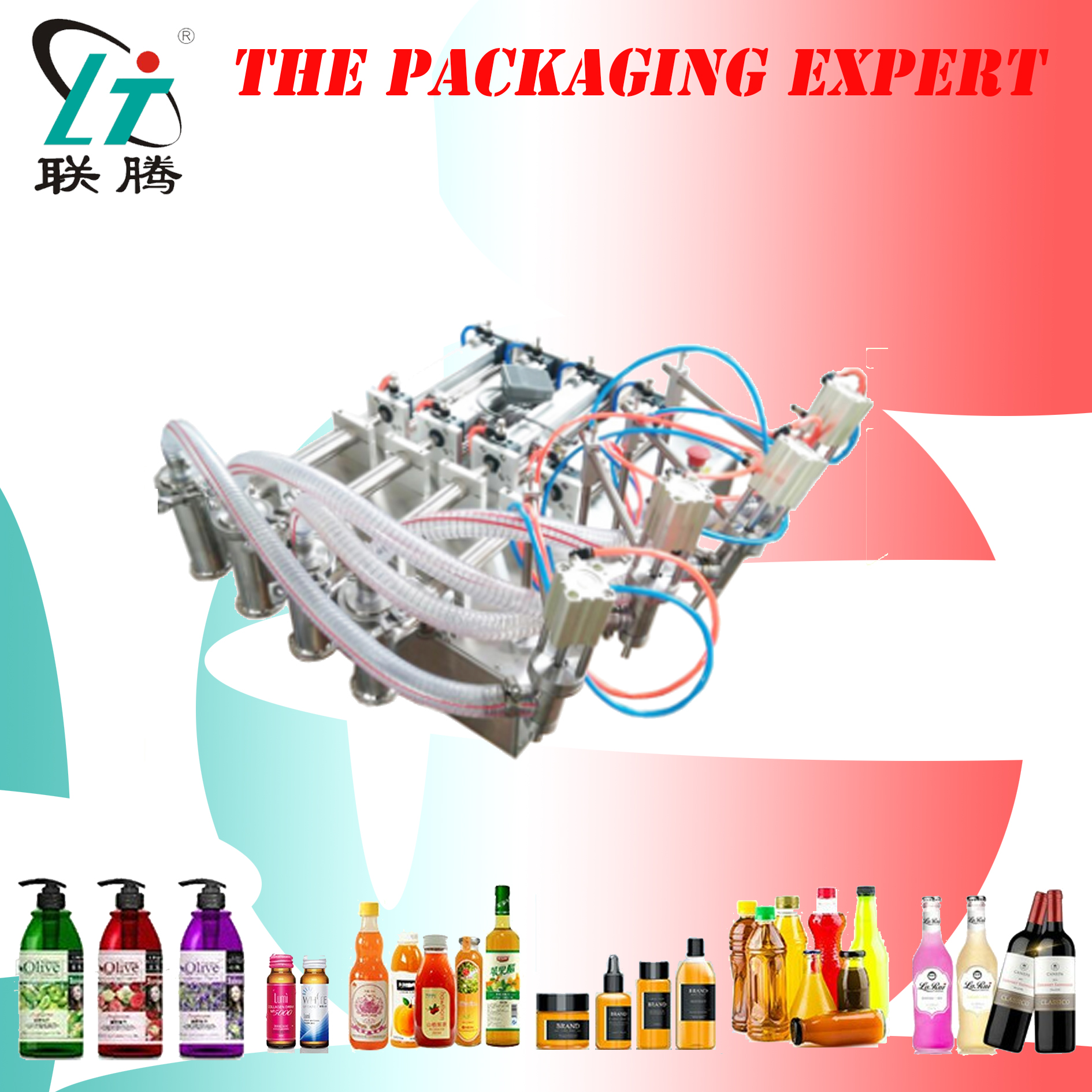 4 Heads Pistons Liquid Filling Machine Pneumatic Detergent Soya Sauce Vinegar Wine Oil Soup Semi Automatic Filler
