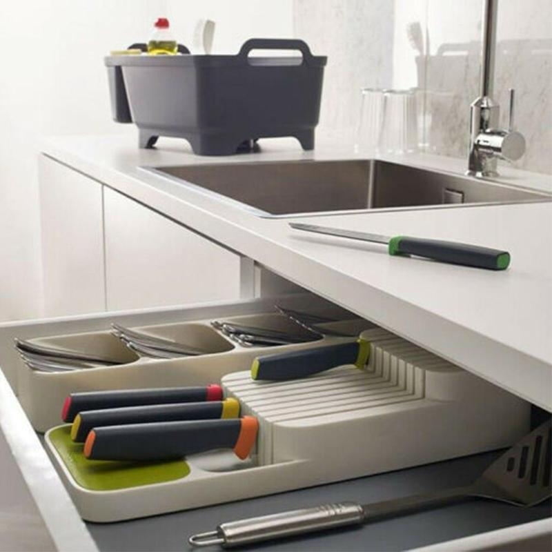 Cutlery Knife Storage Holder Plastic Knife Rack For Chefsknife Stand Knife Guard Kitchen Cutlery Organizer Tray