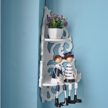 Free-perforated wall shelf hanging simple partition European bedroom living room flower stand