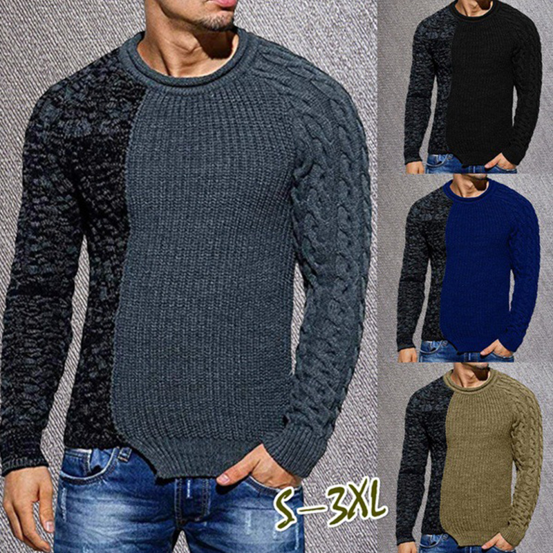 Braided Sweater Men 2020 Brand New O Neck Mens Pullover Sweaters Patchwork Long Sleeve Wild Pull Homme Sueter Hombre Men Coats